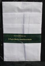 5 x  Mens Walter Grange Hankies Handkerchiefs White Plain.