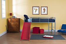 Silver Finish Metal Loft Bed Red Slide Combo Home Living Kids Bedroom Furniture