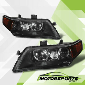 Fit 2004 2005 Acura TSX Black Projector Factory Style Headlights Set 04 05