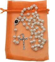 Jesus Christ Crucifix Cross Pendant Catholic Rosary Necklace Unisex White beads