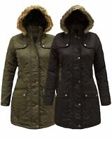Ladies Faux Fur Hood Quilted Padded Women Military Parka Jacket Coat 8 10 12 14