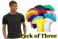 Mens 3 Pack Russel Slim Fit Crew Neck Short Sleeve T-Shirt, 16 tshirt Colours