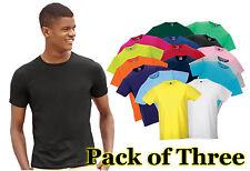 Mens 3 Pack Russel Slim Fit Crew Neck Short Sleeve T-Shirt, 16 tshirt Colours