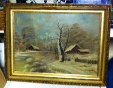 Antique Folk Art Oil Painting Moonlit Cabins Boy & Dog Gilt Antq.Frame