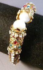 INDIA HANDMADE GOLD TONE FILIGREE INLAID COLORED STONES ENAMEL BRACELET/BANGLE