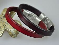 SIMPLY SINGLE BAND SURFER GENUINE LEATHER BRACELET WRISTBAND MEN'S RED&PUR 2pc