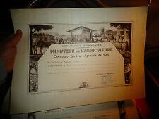 Ancien Diplome Agricole Concours Scène de Battage Tracteur Elevage Vin Fromage 5