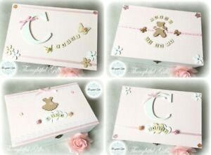 🎀Baby Girls Large/ XL Personalised Wooden Memory Keepsake Box Christening Gifts