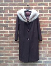 Vintage 50s 60s Wool Blend Coat With Real Artic Fox Fur Collar Chic Rare 10 12