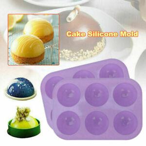 6Hole Semi Sphere Silicone Hot Chocolate Bomb Cake Ice Candy Baking Mould UK