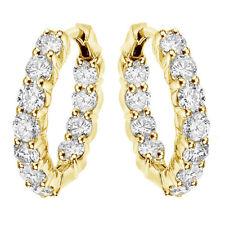 4.50 CT Large Diamond Inside/Outside Hoop Earrings in 18k Yellow Gold New!!