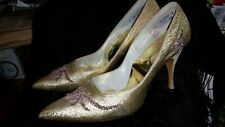 Vintage 1960's Metallic Gold & Beaded Pinup Heels by Quality Craft Size 6Aa
