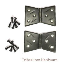 """2 Hand Forged 2"""" Butt Door Hinges Cabinet Box Rustic Antique Wrought Iron Decor"""