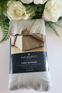 """Fieldcrest Solid Linen Bedskirt Queen Size in Cashmere Gray with 15"""" Drop"""