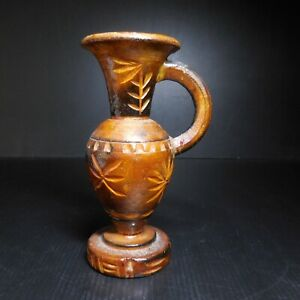 Vase soliflore bois sculpture fait main design XXe vintage art déco fleur N7732