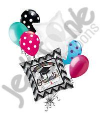 7pc Chevron Black & Silver Grad Balloon Bouquet Happy Graduation Congratulations
