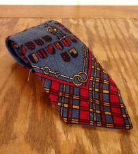 """vtg 60s Rockabilly 100% Wool Colorful Stag Theme Graphic Crest Tie 54"""" 3.75"""""""