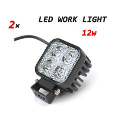 2x 12W Square LED Flood Beam Work Light Tractor off-road Cars Truck 12V 24V IP67