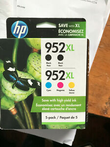 NIB New generation HP 952 inks: two  blacks plus  3 XL cyan, magenta and yellow