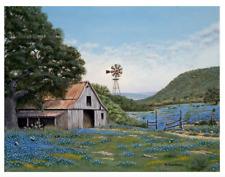 Texas, Bluebonnets, Ranch, Windmill, Dirt Road, Country, Barn, Artwork, Print