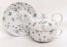 Secret Garden Tea For One Porcelain Floral Teapot Cup Saucer Hand Decorated UK