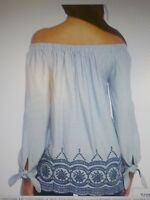 New Directions (Belks Brand)  Embroidered Hem Peasant Top Blouse XL Reg $48