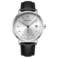 Mens Business Leather Quartz Minimal Watch Classic Hand Analog Black Wristwatch