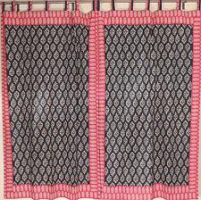 """Paisley Print Black Maroon Curtains - 2 Cotton Elegant Unique Window Panels 82"""""""