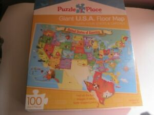 GIANT USA FLOOR MAP PUZZLE 100 PIECES PUZZLE PLACE 36 X 24 MASTER PIECES 5+