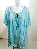 French Laundry Womens Aqua & White Design-Scoop Neck w/Ties & Beads - Size 22-24