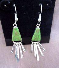 Zuni Gaspeite w/ Sterling Silver Dangle Hook Earrings - JE0029