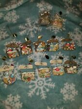 """Cherished Teddies Christmas Ornaments """"Swinging Through Life With You"""" 14 pc Lot"""