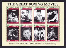 STAMP foglio/Blocco SIERRA LEONE Boxe Più Grande Film Pellicole BOXER MOVIE 1992
