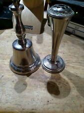 More details for vintage silver coloured bell rose vase set vintagel