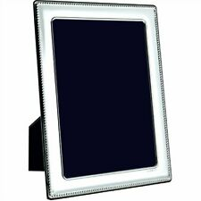 """CARRS - Sterling Silver Photo Frame Bead Design Wood Back - 10"""" x 8"""""""