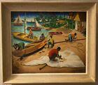 "Andre Normil Original Haitian Seaside Oil Painting on Masonite 28x24"" Framed"