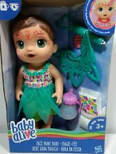 Baby Alive Face Paint Fairy Interactive Doll Brunette Real Girl Toys