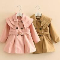Girls Children's Trench Coat Double Breasted Parka New Windbreaker Casual Tops