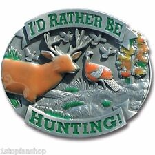 I'd Rather Be Hunting 3D Metal Hitch Cover Cap Plug Tow Deer Turkey Birds Trees