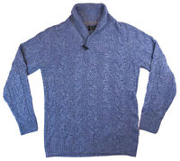 MASSIMO DUTTI Mens L Wool Silk Cable Knit Shawl Collar Sweater Heather Blue EUC