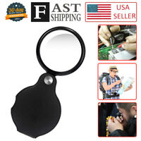 2pcs 10X Mini Magnifying Glass Folding Pocket Magnifier Bigeye Glass Loupe US