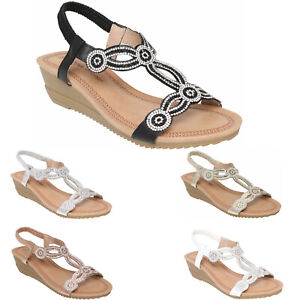 Womens Ladies Sandals Mid Low Heel Wedge Sling Back Girls Summer Party Shoes New
