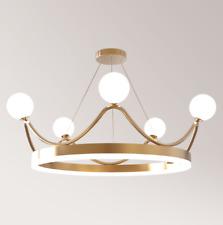 Crown LED Glass Ceiling Light Branches Chandelier Living Room Bedroom Lamp