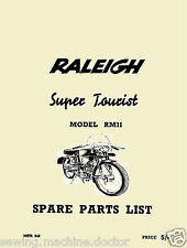 Raleigh Model RM11 Super Tourist Moped Spare Parts List Manual Booklet