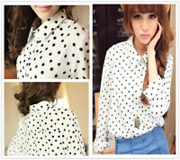 Women Dots Formal Slim Chiffon Career Long Sleeves T Shirts Tops Blouses