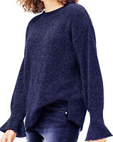 UK Sizes 12-26 EU 38-52 Ladies Navy BLue Sparkly Jumper Bell Long Sleeves