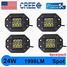 4X 24W CREE SPOT LED Cube Pods Work Light Flush Mount Offroad Truck Square QUIN