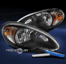 FOR 2006-2010 CHRYSLER PT CRUISER WAGON BLACK HEADLIGHT LAMP W/BLUE LED DRL KIT
