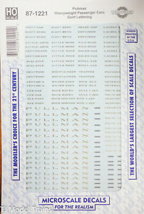 Microscale HO #87-1221 Pullman Heavyweight Pass. Cars Gold Lettering (Decal)