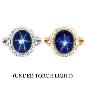 Oval 12x10mm 6 Rays Star Sapphire Diffusion White Cz 925 Sterling Silver Ring